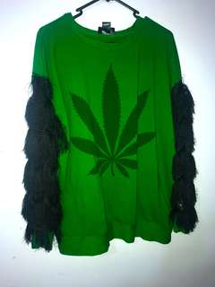 Marijuana leaf print jumper
