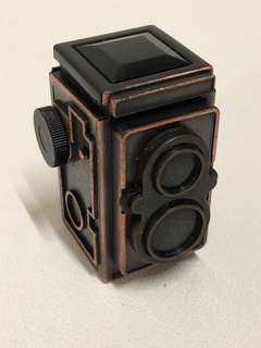 Bronze miniature antique/ vintage Twin Lens Reflex TLR camera with pencil sharpener display set