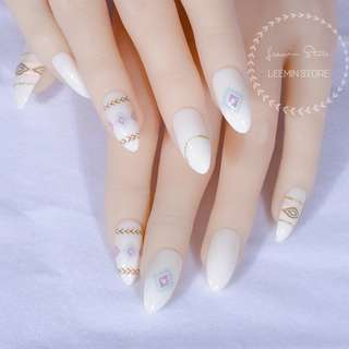 Bohemia style nails white tip nails 24 pcs per set