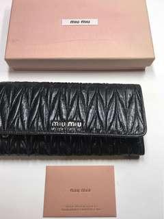 Miu Miu Wallet 黑色 長鄒接銀包 購自意大利保正真品