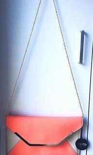 Peach & gold clutch with chain