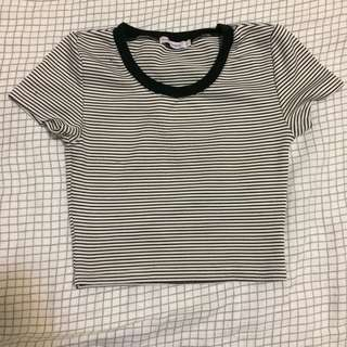 Luck & Trouble Crop black and white Stripe Tee t shirt top