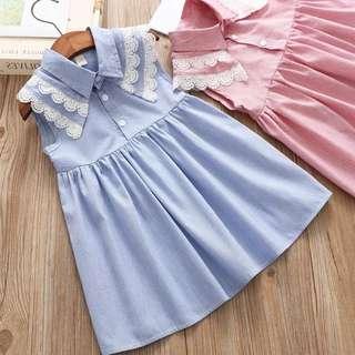 🚚 預購「7-15蕾絲條紋氣質連身洋裝女童裝」