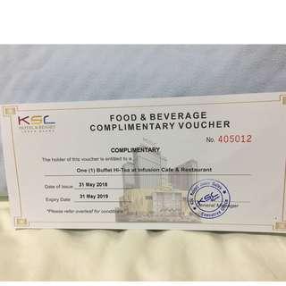 KSL Hotel Johor Bahru Buffet Hi-Tea Voucher (2 pax ) at Infusion Cafe & Restaurant