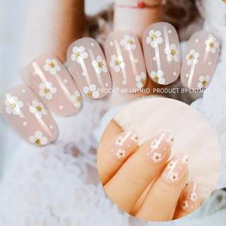 LNYMIO flower fake nails round fresh color press on tips weddy party
