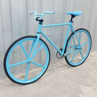 🚚 Custom Sky Blue 5 Spoke Fixie Single Speed Road Bike