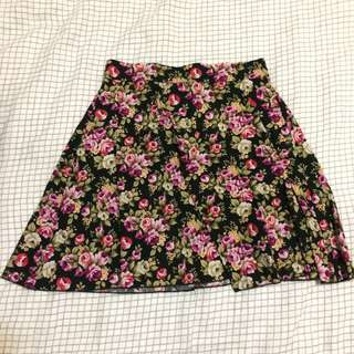 Cute floral black skirt hand made indie local designer