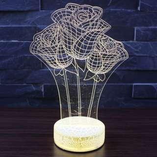 3D創意LED玫瑰花小夜燈 - USB 取電 - B0016