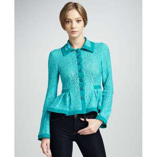 BN Nanette Lepore Turquoise Summer Flame Lace Jacket - Size 10