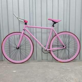🚚 Custom Pink 40mm Fixie Single Speed Road Bike