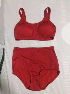 Red high waisted bikini