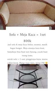 SOFA & MEJA KACA 1 SET 800k