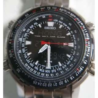 [父親節優惠,買任何一隻九折,買任何兩隻或以上八折,優惠期至6月20日] Vintage Seiko (精工) analog-digital hybrid watches 行針+跳字雙顯示世界時間飛機師錶