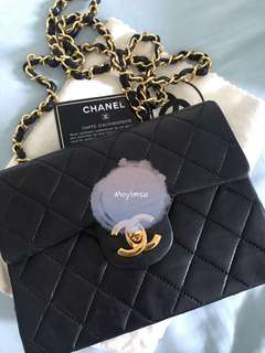 Authentic Chanel vintage lambskin mini square bag