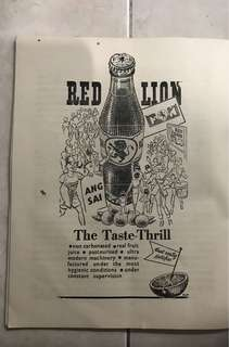 Vintage Red Lion Advertisement