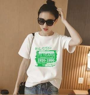 🚚 夏装韩版字母白色短袖t恤女學生百搭寬鬆半袖体恤原宿風bf上衣服,s-xxl, 買一送一290