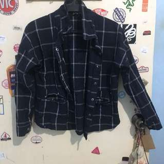 Blue Checkered Long Sleeves With Side Pockets