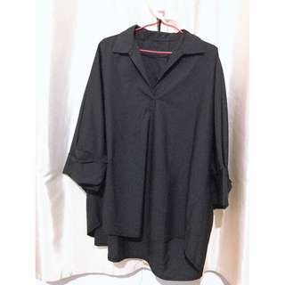 2 ITEMS! Black and white oversized 3 quarter sleeve shirt