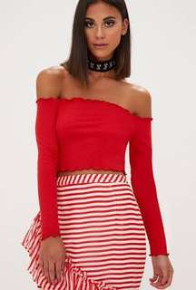 Ribbed red off shoulder top