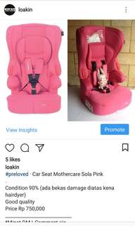 #preloved · Car Seat Mothercare Sola Pink⠀
