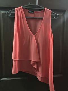 Salmon pink ruffled assymetrical top