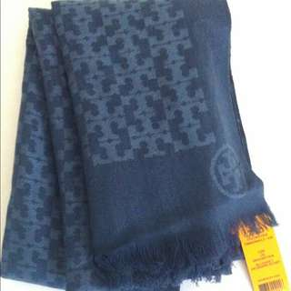 Tory Burch branded authentic All Over T Jacquard double sided silk cotton scarf shawl