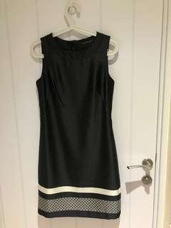 Black dress white details