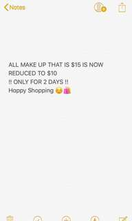 $15 MAKE UP REDUCED TO $10 ONLY FOR 2 DAYS
