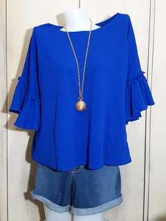 Plus size Ruffles Royal blue blouse