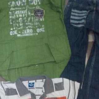 Jual set kemeja merk snowboy+jeans merk cool kids + bonus polo merk donald gratis koko 6 thn