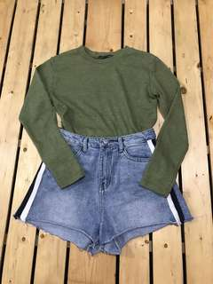 BUNDLE // set HIGHWAIST SHORTS AND OLIVE GREEN SWEATER TOP