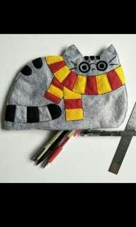 Handmade Pusheen Potter - Harry Potter Pusheen the Cat Felt Pencil Case / Pouch