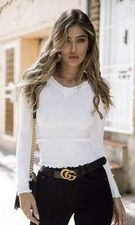 Dolly girl fashion white knit top