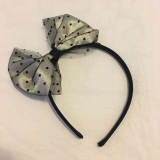 Forever 21 Lace Polka Dot Bow Hairband 蕾絲波點蝴蝶結頭箍 髮箍