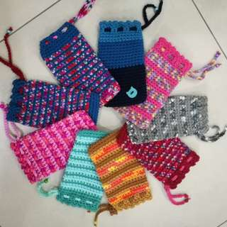 Crocheted mobile / power bank / sunglasses pouch