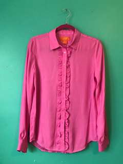 Pink button up blouse - small
