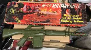 Vintage M-16 Military Rifle Toy