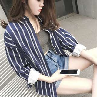 Spring and autumn women simple vintage stripe Long sleeve