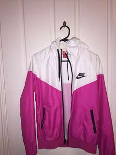 Nike pink and white windrunner