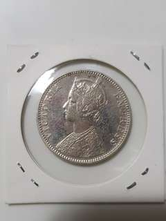1888 victoria empress one rupee indian silver coin