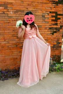 Long gown with Laces (Peach) / Ball gown / Evening gown