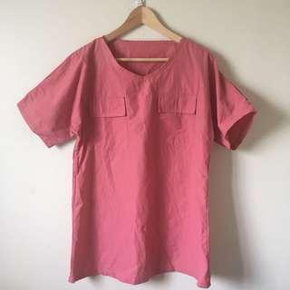 🚚 桃色寬版五分袖口袋洋裝