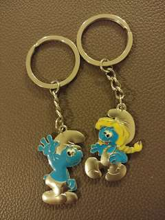Brand New Smurf couple keychains