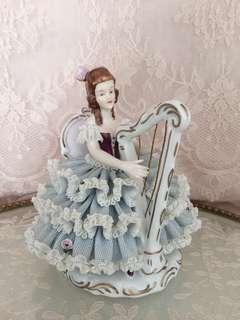 Vintage Dresden lace harpist figurine