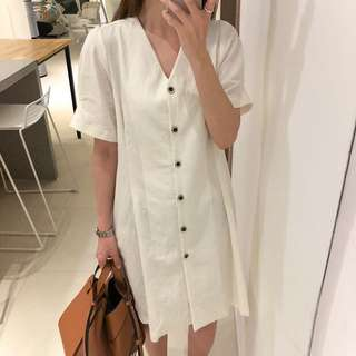 2018 Summer Vintage Buckle V-Neck Dress Short-Sleeve Cotton-Made Long Skirt
