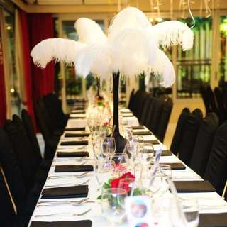 White and black Ostrich Feathers As Wedding Centrepiece