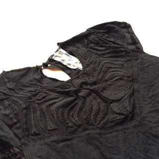 [Mango] Embroidered Detail Top in Black.