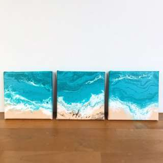 Set of 3 seascapes (15x15cm each)