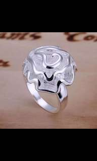 rose solid Ring big heavy Rose Flower Ring