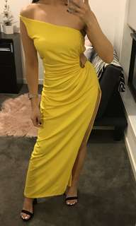 RARE YELLOW ONE SHOULDER CUTOUT EVENING GOWN DRESS XS 6